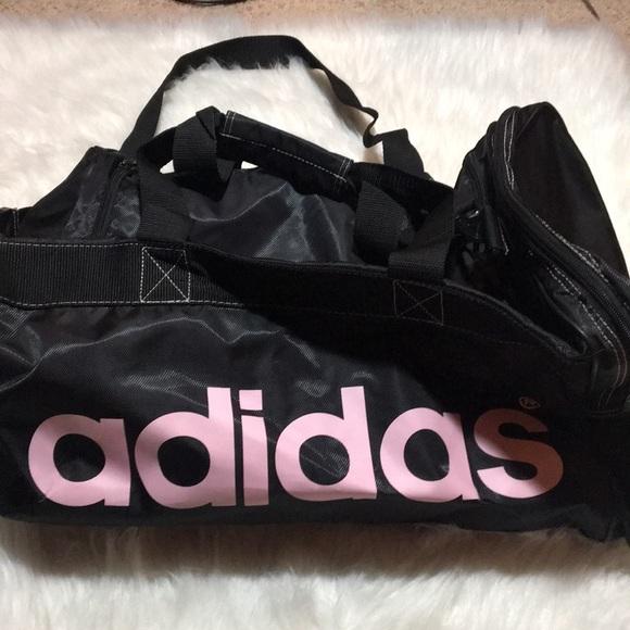 d7cf1fe77863 adidas Handbags - Adidas Black   Pink 3 Stripe Duffel Bag Gym Sports